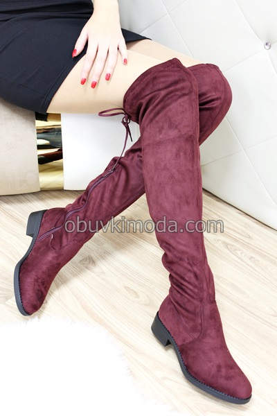 Дамски чизми - D7531-WINERED