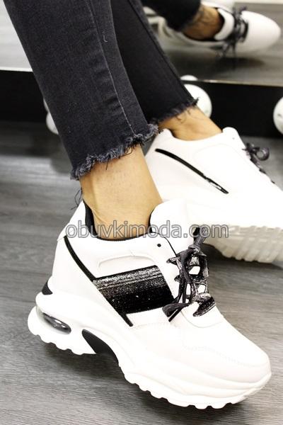 Спортни обувки на платформа - BK833-WHITE