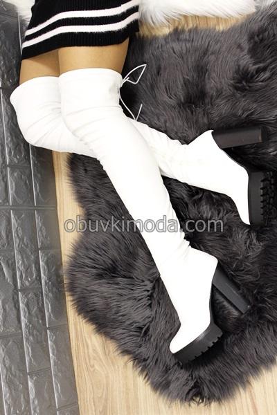 Дамски чизми - D7641-WHITE