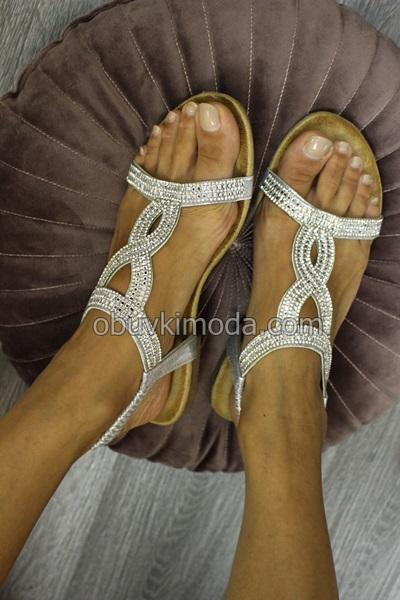 Дамски сандали на ниско ходило - LS-9B27-SILVER