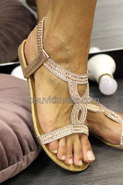 Дамски сандали на ниско ходило - LS-9B27-SHAMPAGNE
