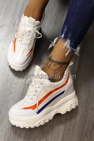 Спортни обувки на платформа - SJN260-WHITE