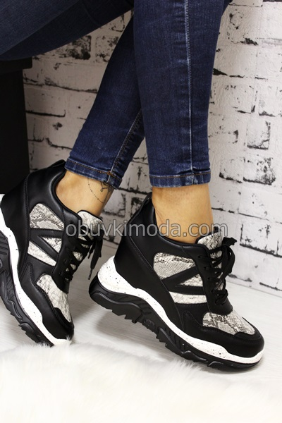 Дамски маратонки на платформа - 180913-BLACK